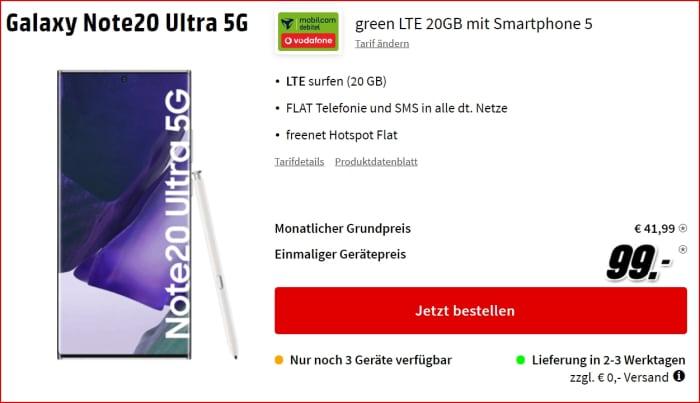Samsung Galaxy Note 20 Ultra + green LTE zum Bestpreis!
