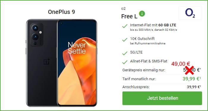 OnePlus 9 + o2 Free L bei DeinHandy