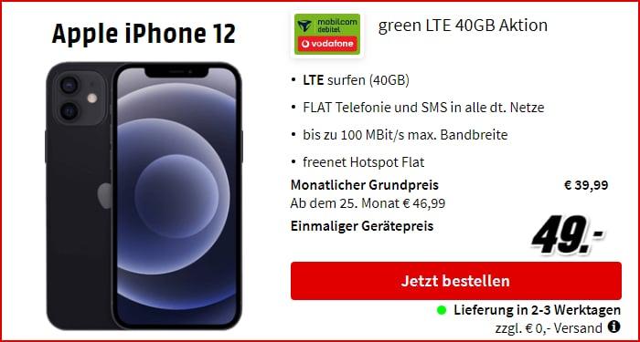 Apple iPhone 12 mit green LTE 40 GB im Vodafone-Netz bei MediaMarkt