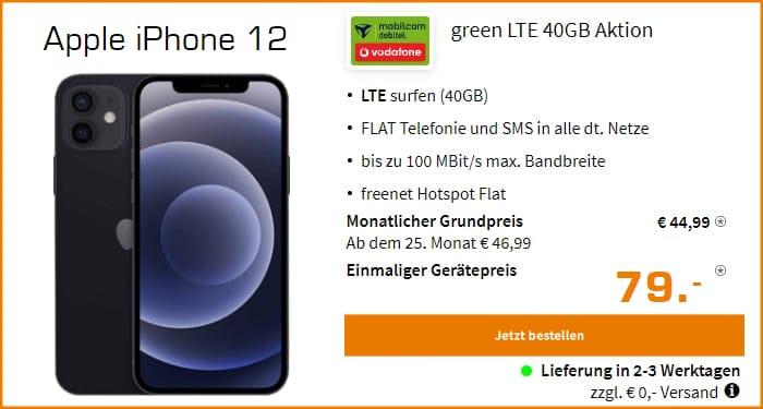 Apple iPhone 12 mit green LTE 40 GB im Vodafone-Netz bei Saturn