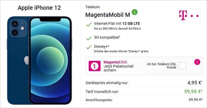 Apple iPhone 12 mit Telekom MagentaMobil M bei DeinHandy