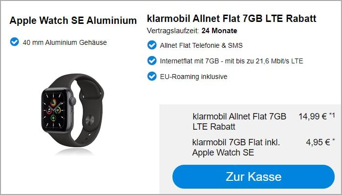 Apple Watch SE mit Klarmobil Allnet Flat