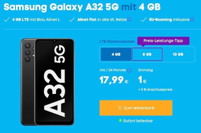 Galaxy A32 5G + blau Allnet-Flat L 4 GB LTE bei Blau.de