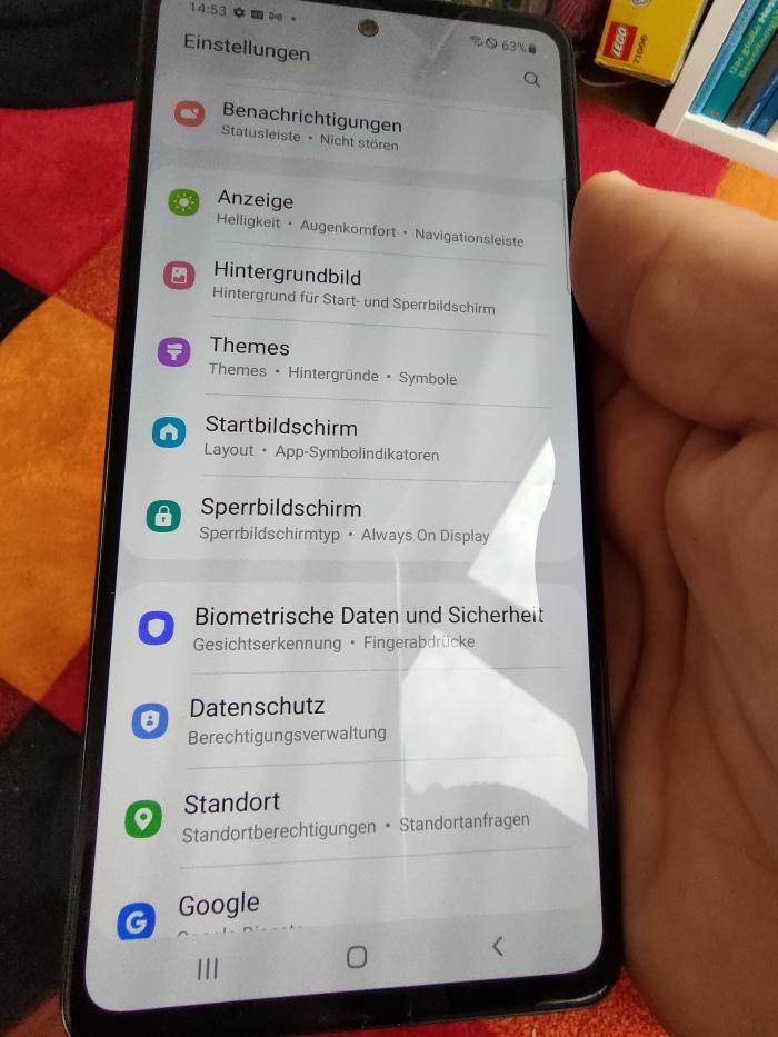 Samsung Galaxy A52 Test Einstellungen