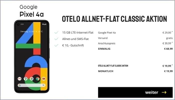 Google Pixel 4a + otelo Allnet-Flat Classic (Vodafone-Netz)