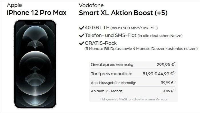 iPhone 12 Pro Max mit Vodafone Smart XL bei Preisboerse24 299