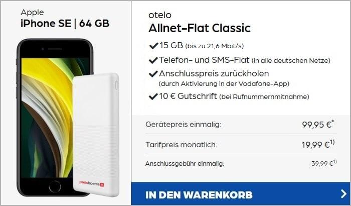 iPhone SE (2020) + Powerbank + otelo Allnet Flat Classic 15 GB Aktion bei Preisboerse24