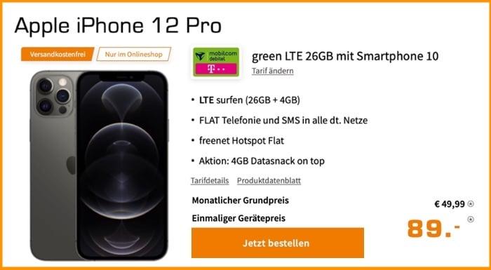 Apple iPhone 12 Pro + md green LTE 26 GB Telekom-Netz bei Saturn