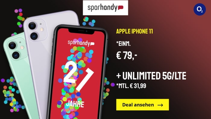 Apple iPhone 11 mit o2 Free Unlimited Basic bei Sparhandy
