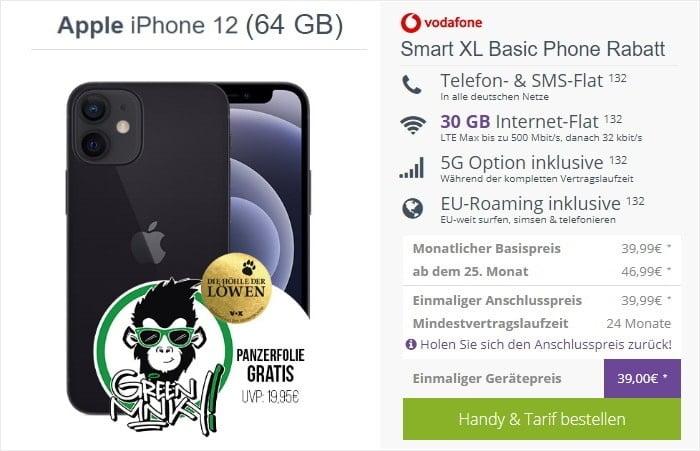 iPhone 12 mit Vodafone Smart XL 30 GB bei FLYmobile