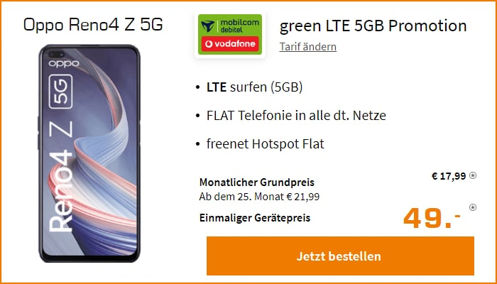 Oppo Reno4 Z 5G mit green LTE 5 GB Vodafone-Netz