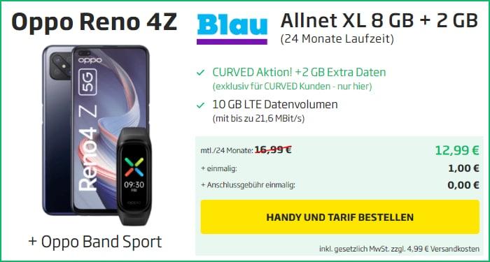 Oppo Reno4 Z 5G inkl Band Sport mit Blau Allnet XL 10 GB bei curved
