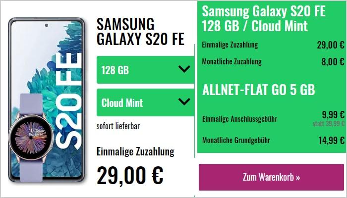 Samsung Galaxy S20 FE mit Galaxy Watch Active 2 gratis