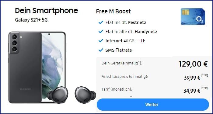 Samsung Galaxy S21 Plus o2 Free M Boost Galaxy Buds