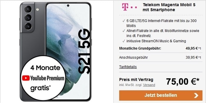Samsung Galaxy S21 5G + Telekom MagentaMobil S bei LogiTel