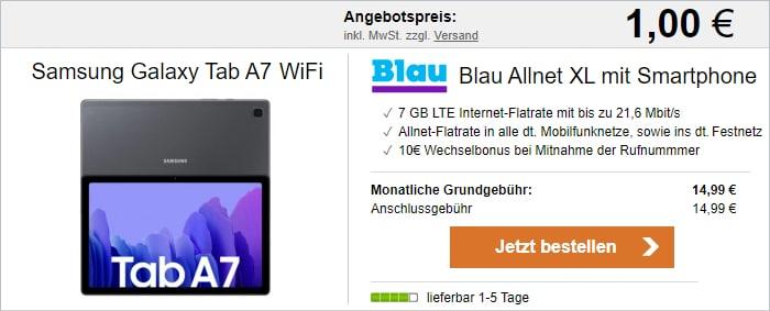 Samsung Galaxy Tab A7 WiFi + Blau Allnet XL bei LogiTel