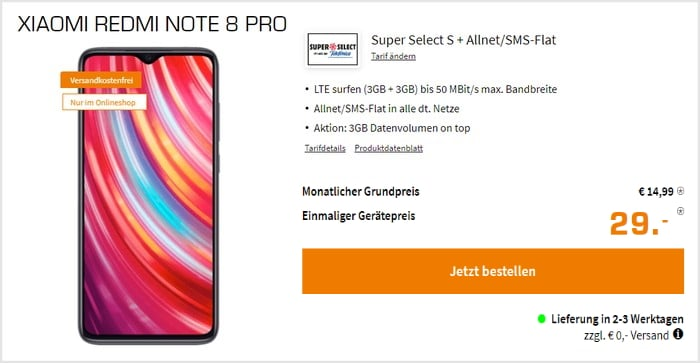 Xiaomi Redmi Note 8 Pro + 6 GB LTE + Allnet-Flat