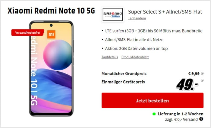 Xiaomi Redmi Note 10 5G + Super Select S bei MediaMarkt