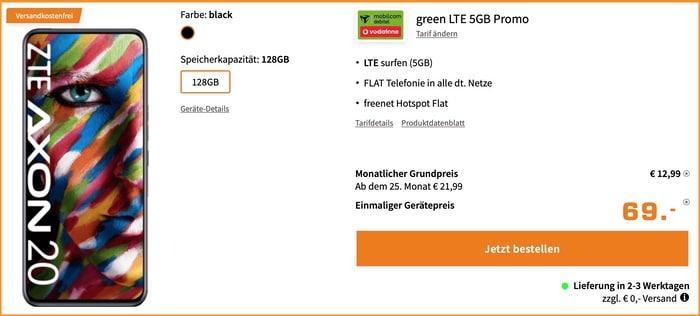ZTE Axon 20 + md green LTE im Vodafone-Netz