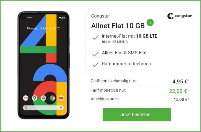 Google Pixel 4a mit congstar Allnet Flat bei Deinhandy