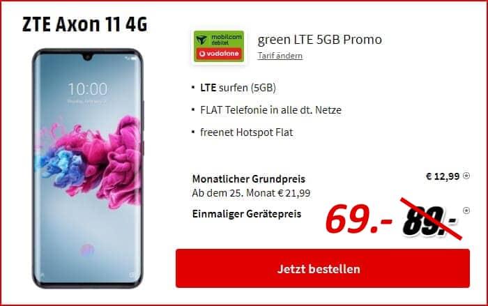 Axon 11 mit green LTE Vodafone bei MediaMarkt günstig