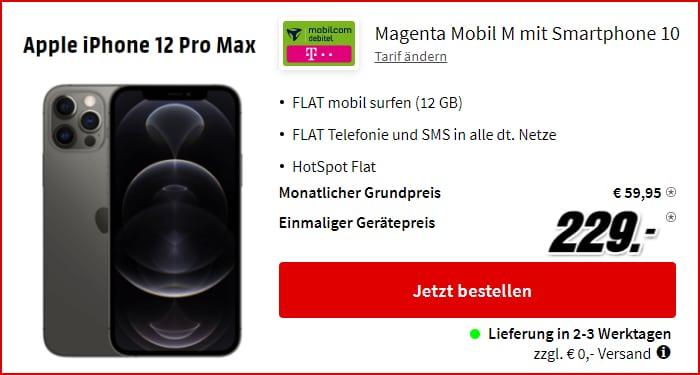 Apple iPhone 12 Pro Max + mobilcom-debitel MagentaMobil M (Telekom-Netz) bei MediaMarkt