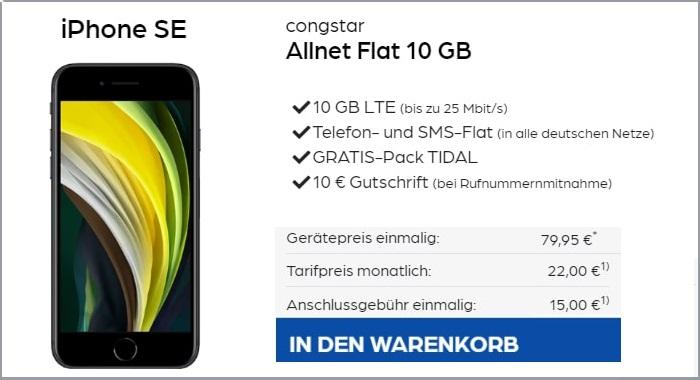 iPhone SE mit congstar