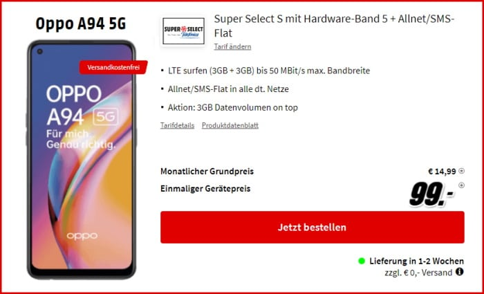 Oppo A94 5G + Super Select S bei MediaMarkt