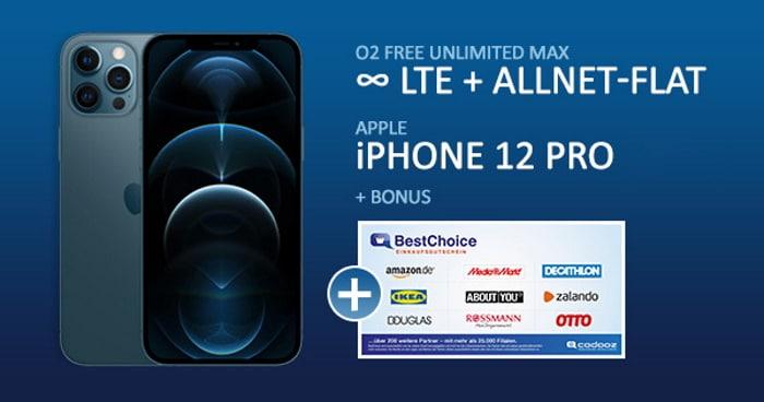 Apple iPhone 12 Pro + o2 Free Unlimited Max als Handyhase Bonus-Deal