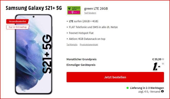 Samsung Galaxy S21 Plus 5G + mobilcom-debitel green LTE (Telekom-Netz) bei MediaMarkt