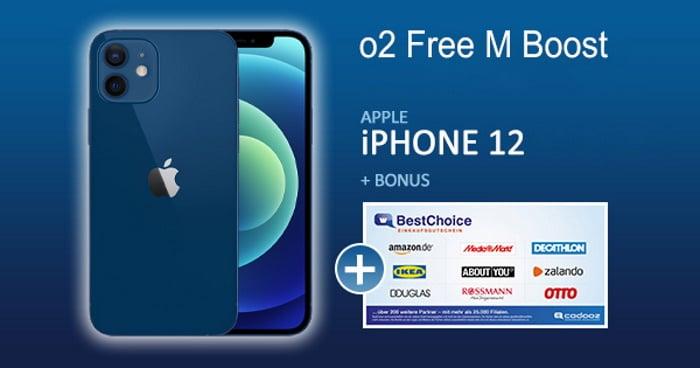 iPhone 12 + 60 € BestChoice-Gutschein + o2 Free M Boost als Handyhase Bonus-Deal