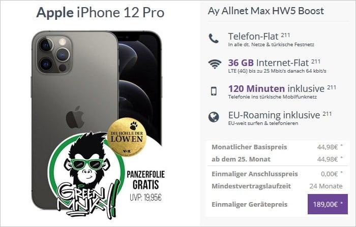 iPhone 12 Pro mit Ay Yildiz Ay Allnet Max Boost bei FLYmobile