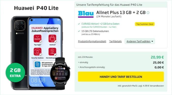 Huawei P40 lite mit Watch 3 LTE zum Blau Plus bei Curved