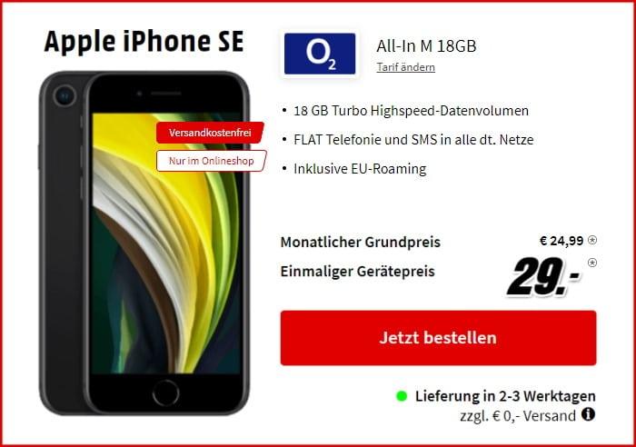 iPhone SE (2020) + o2 Blue All-In M bei MediaMarkt