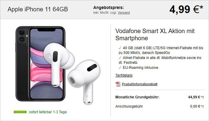 iPhone11 + AirPods Pro + Vodafone Smart XL bei LogiTel