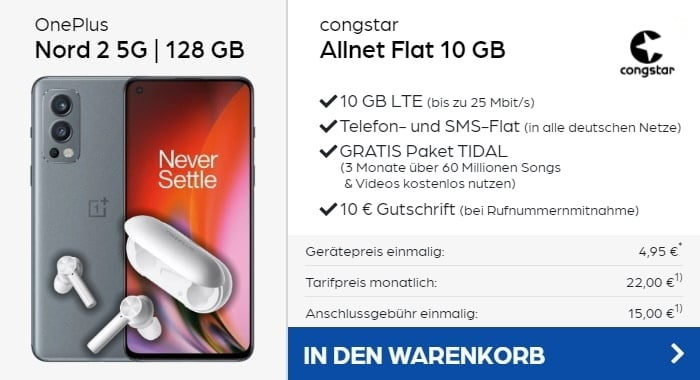 OnePlus Nord 2 5G + OnePlus Buds Z + congstar Allnet Flat bei Preisboerse24