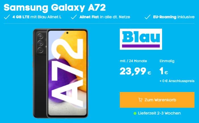 Samsung Galaxy A72 mit Blau Allnet L (4 GB) bei Blau