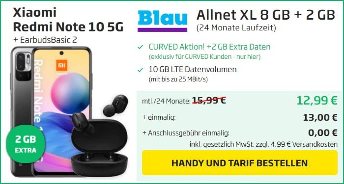 Xiaomi Redmi Note 10 5G + Xiaomi Mi True Wireless Earbuds Basic 2 + Blau Allnet XL bei Curved