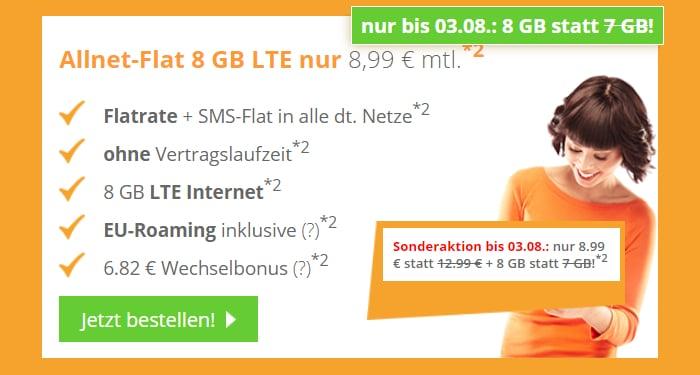 SimDiscount 8 GB LTE Aktion Ende Juli/Anfang August 2021