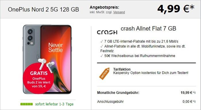 OnePlus Nord 2 5G + OnePlus Buds Z + crash Allnet Flat bei LogiTel