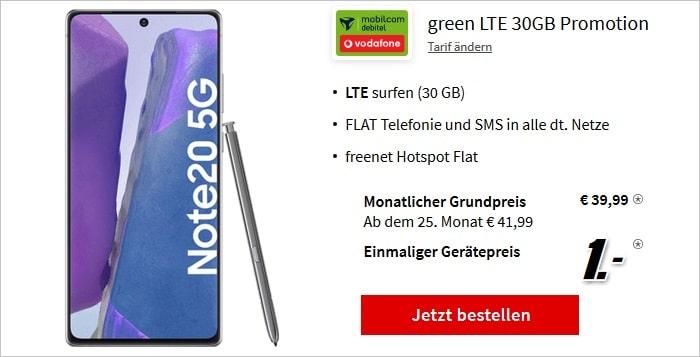 Samsung Galaxy Note20 5G green LTE 30 GB Vodafone bei MediaMarkt