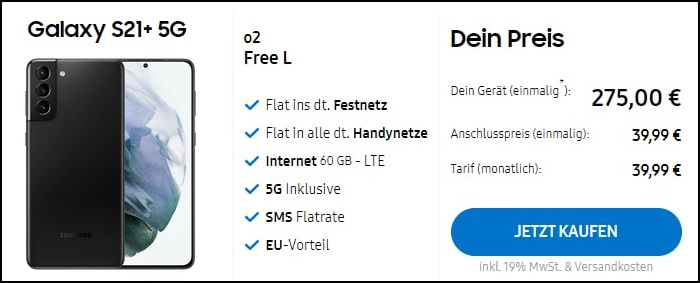 Samsung Galaxy S21 Plus 5G zum o2 Free L im Samsung Shop