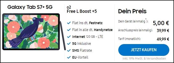 Samsung Galaxy Tab S7 Plus 5G zum o2 Free L Boost im Samsung Shop