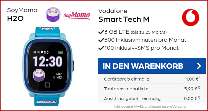 SoyMomo H2O Kindersmartwatch im Vodafone Smart Tech M bei Preisboerse24