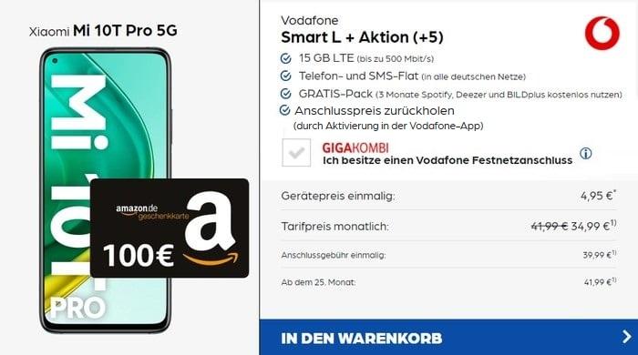 Xiaomi Mi 10T Pro + 100 € Amazon-Gutschein + Vodafone Smart L Plus bei Preisboerse24 AG Aktion