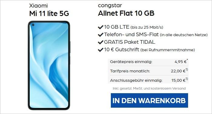 Xiaomi Mi 11 lite 5G mit congstar Allnet Flat 10 GB bei Pb24