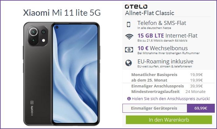 Xiaomi Mi 11 Lite 5G mit otelo Allnet-Flat Classic 15 GB Aktion bei FLYmobile