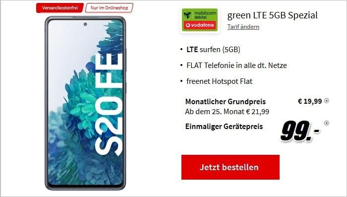 20210801 Samsung Galaxy S20 FE mit md green LTE 5GB im Vodafone-Netz bei MediaMark