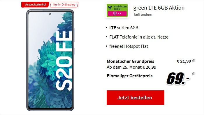 Samsung Galaxy S20 FE mit md green LTE 6GB im Telekom-Netz bei MediaMarkt