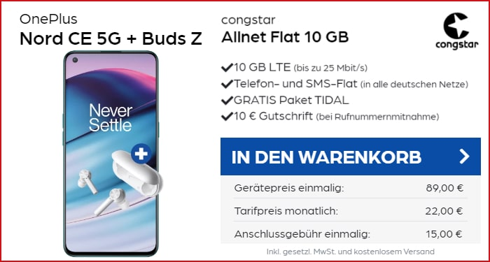 OnePlus Nord CE 5G + OnePlus Buds Z + congstar Allnet Flat bei Preisboerse24